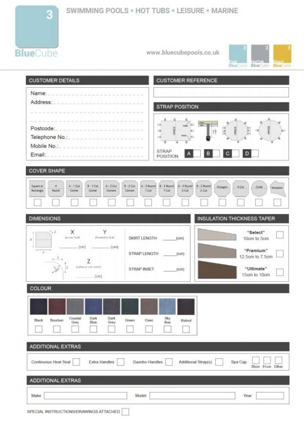 Order custom hot tub cover form