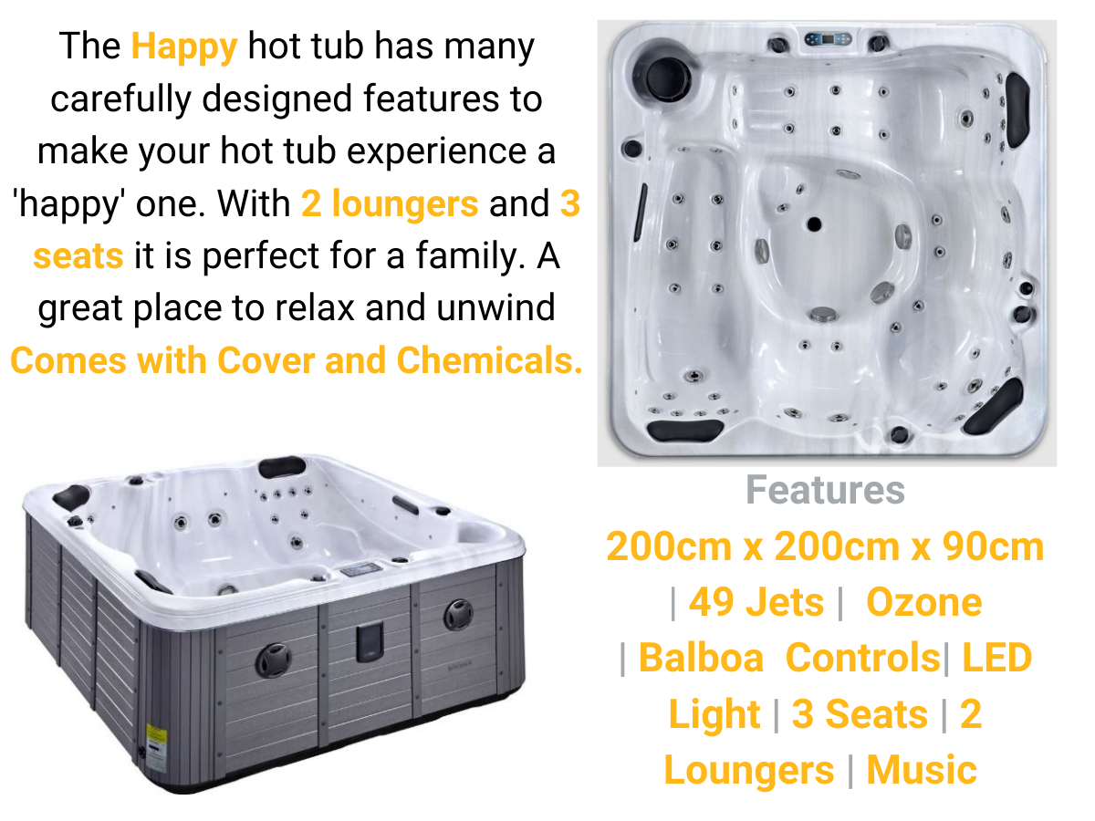 happy 5 person hot tub for sale