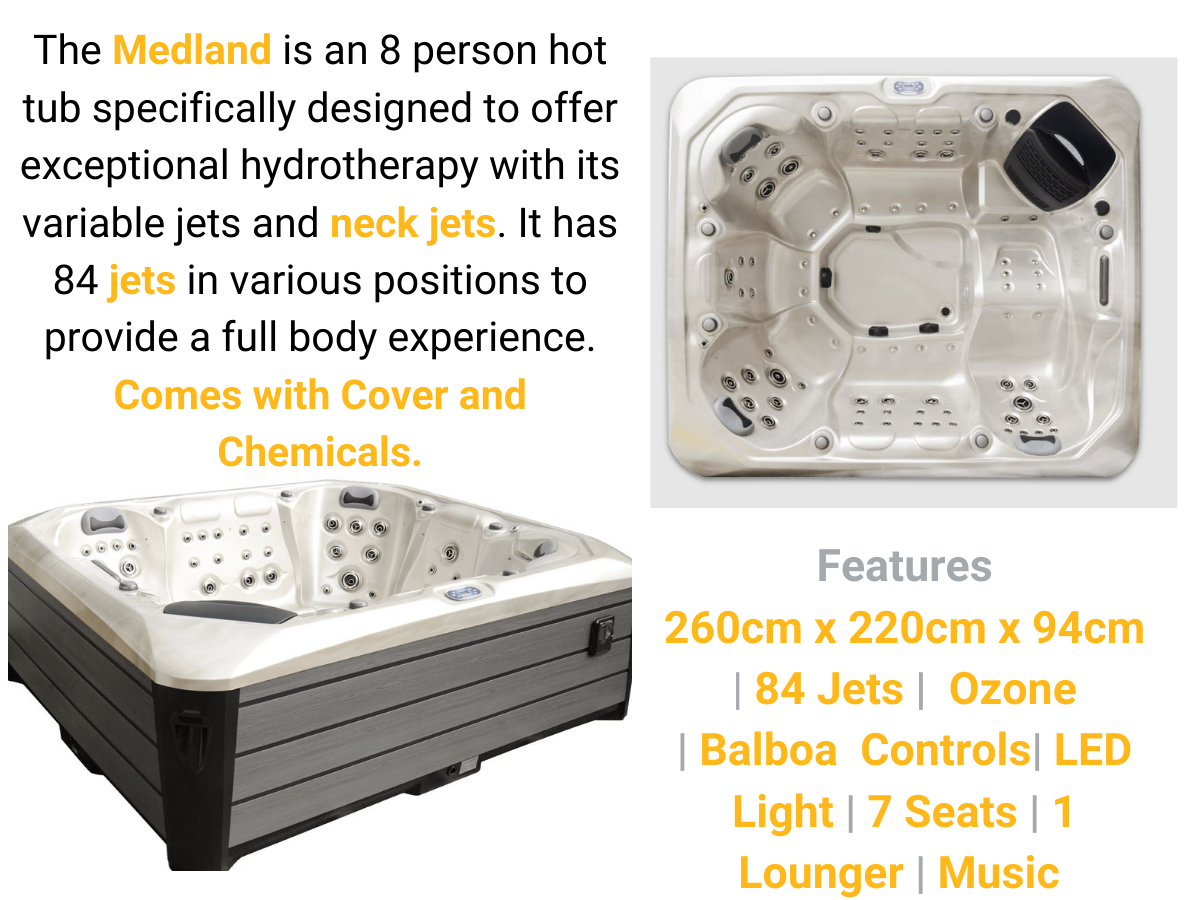 Medland 8 person hot tub for sale